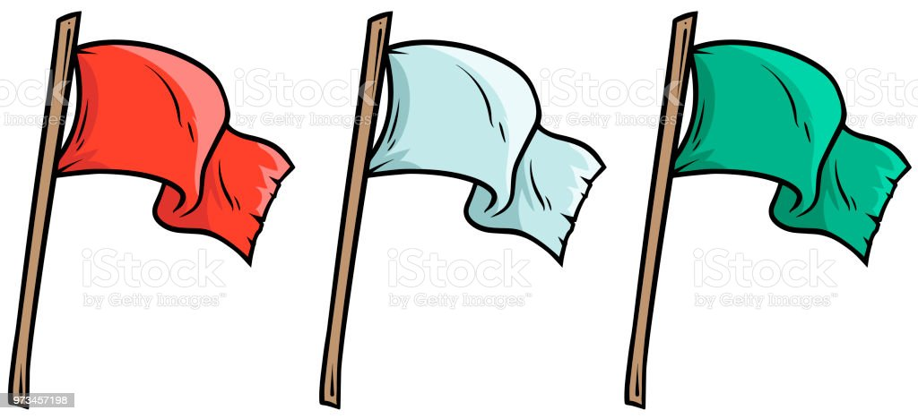 cartoon colored waved flags