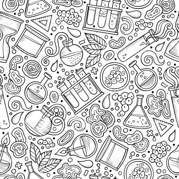 Cartoon Cute Hand Drawn Science Seamless Pattern Stock
