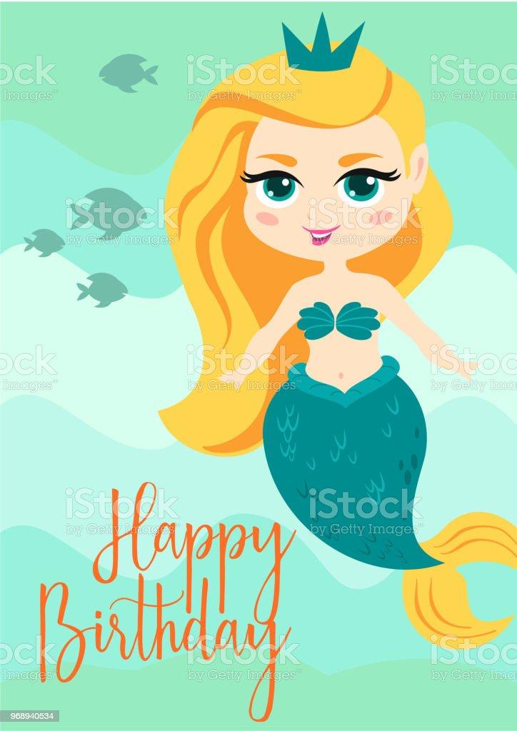carte de vecteur mignon dessin anime avec la petite sirene joyeux anniversaire dete poster vecteurs libres de droits et plus d images vectorielles de adulte istock