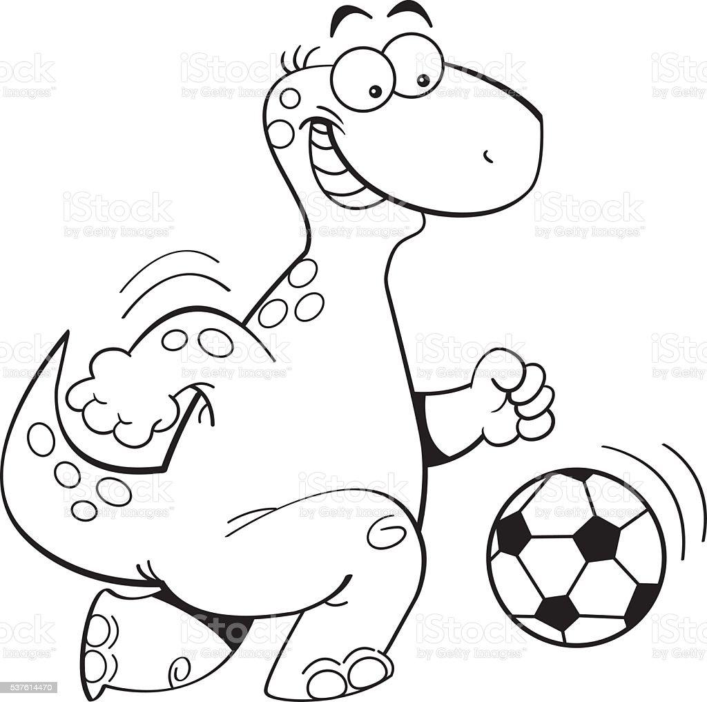 Cartoon Dinosaur Playing Soccer Stock Vector Art & More