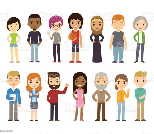 cartoon diverse people stock vector