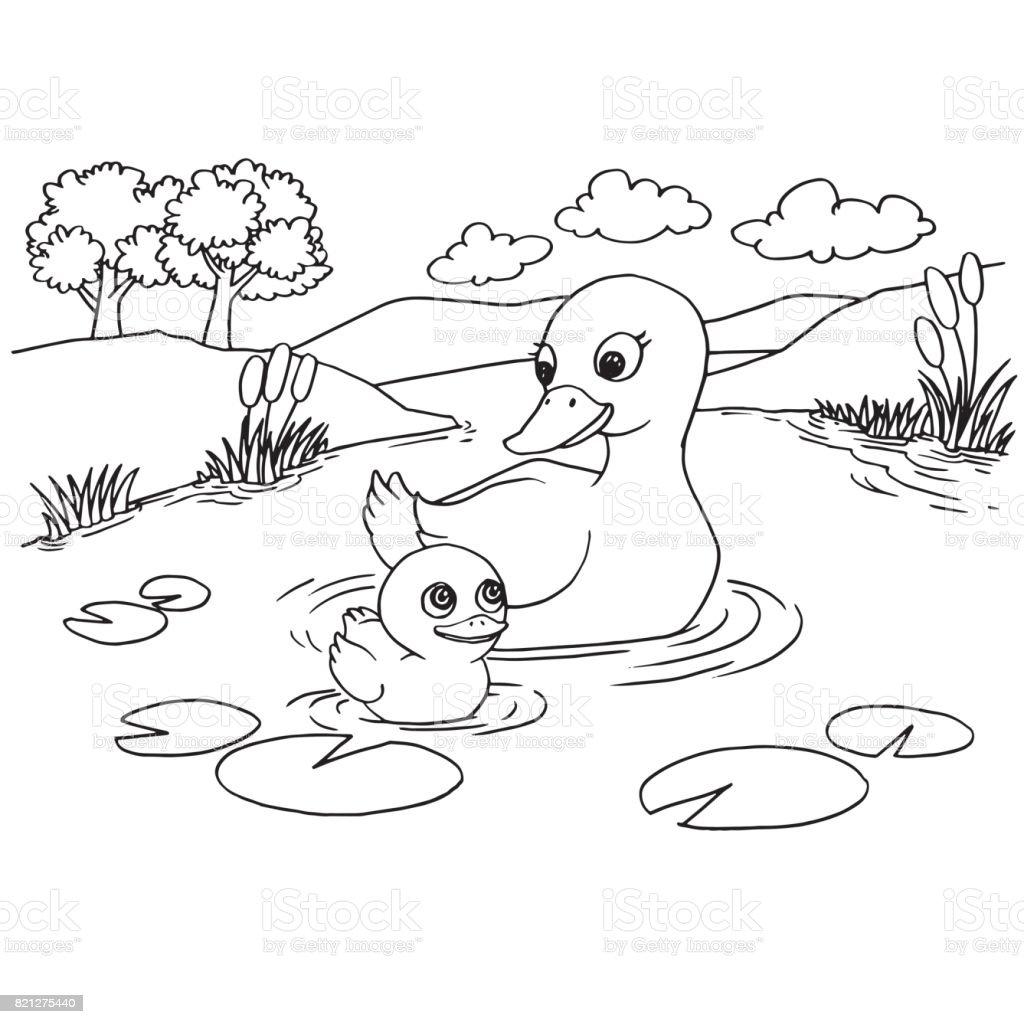 Cartoon Duck Lake Coloring Page Vector stock vector art
