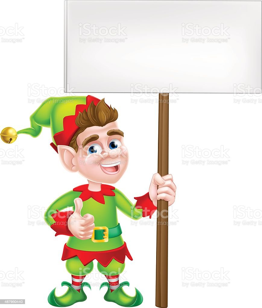 royalty free christmas elf holding