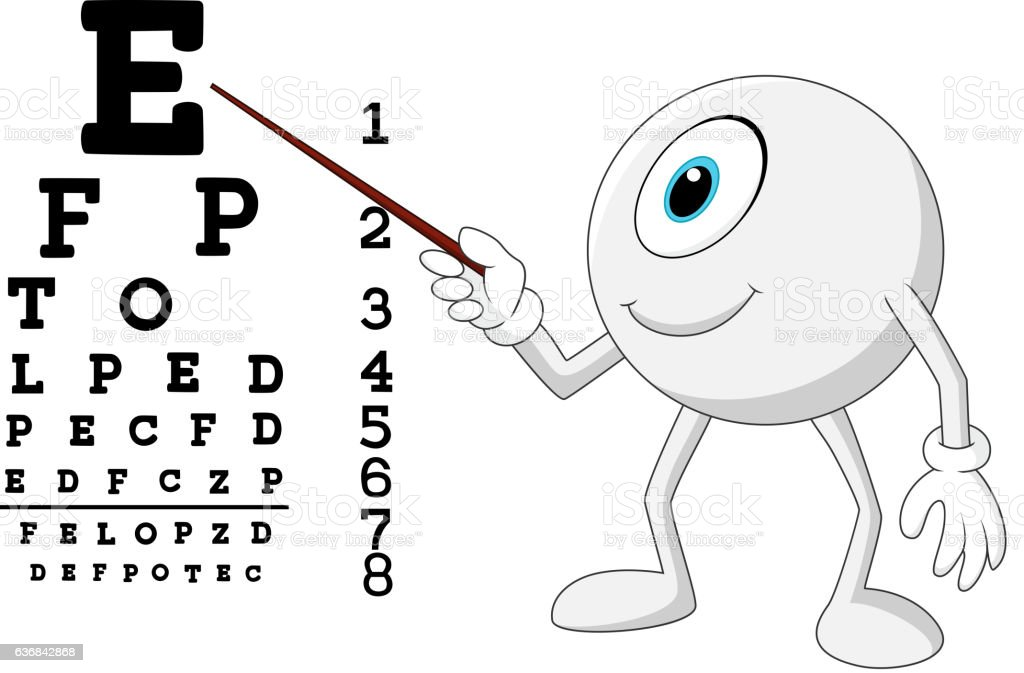 Cartoon Eye Ball Optician Pointing To Snellen Chart Stock