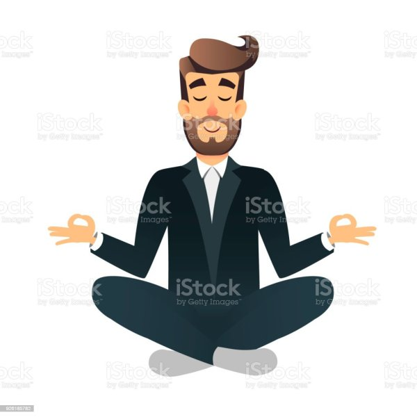 Cartoon Flat Happy Office Manager Sitting And Meditating