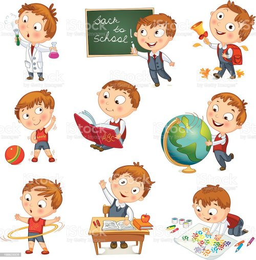 small resolution of a cartoon kid showcasing all his activities at school toothbrush clip art brush teeth clip art