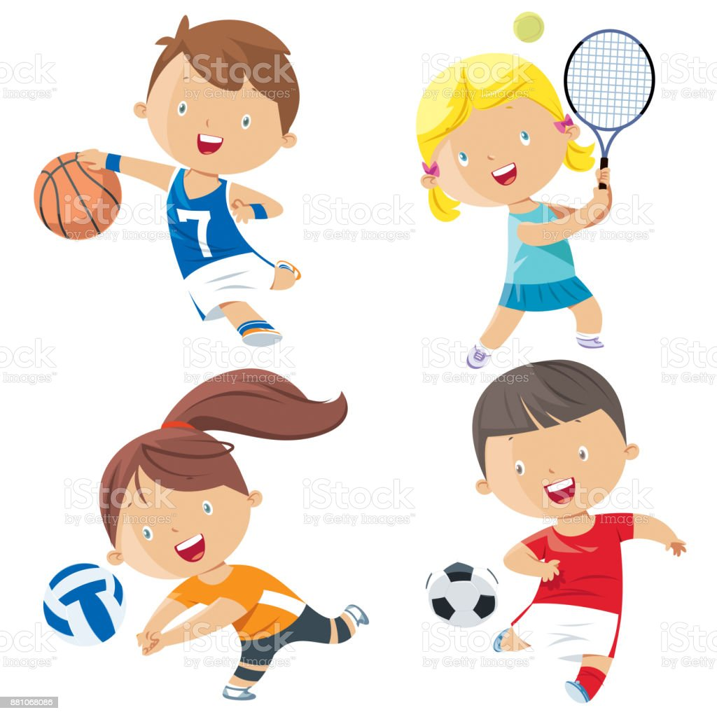 Cartoon Kids Sports Characters Stock Illustration - Download Image Now - iStock