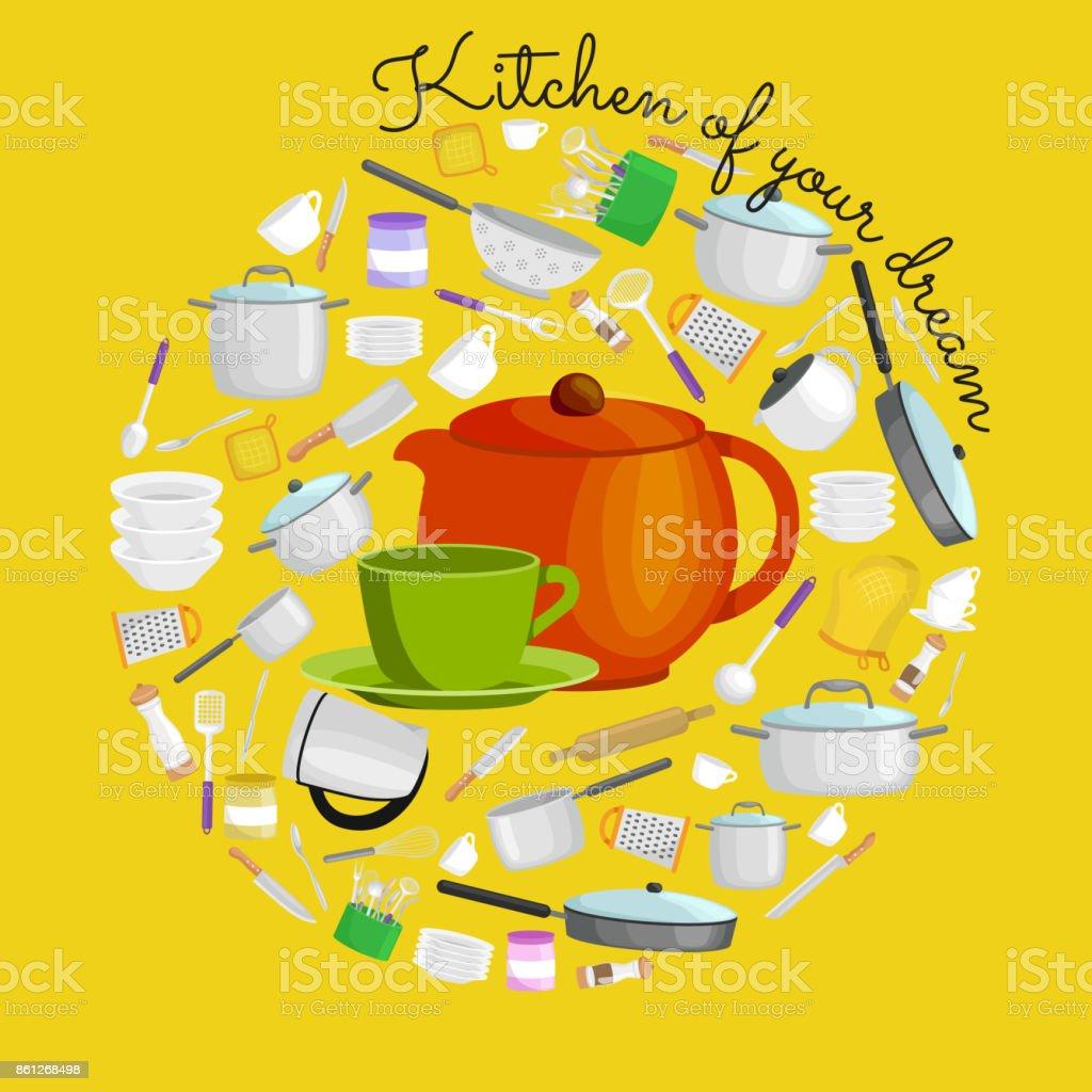 kitchen tool set large cart 卡通廚房用具集集合的橙色teepot 和綠色杯碟向量圖向量插圖及更多一組 卡通廚房用具集 集合的橙色teepot 和綠色杯碟向量圖免
