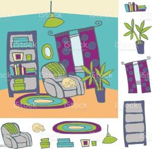 comic cartoon living wohnzimmer