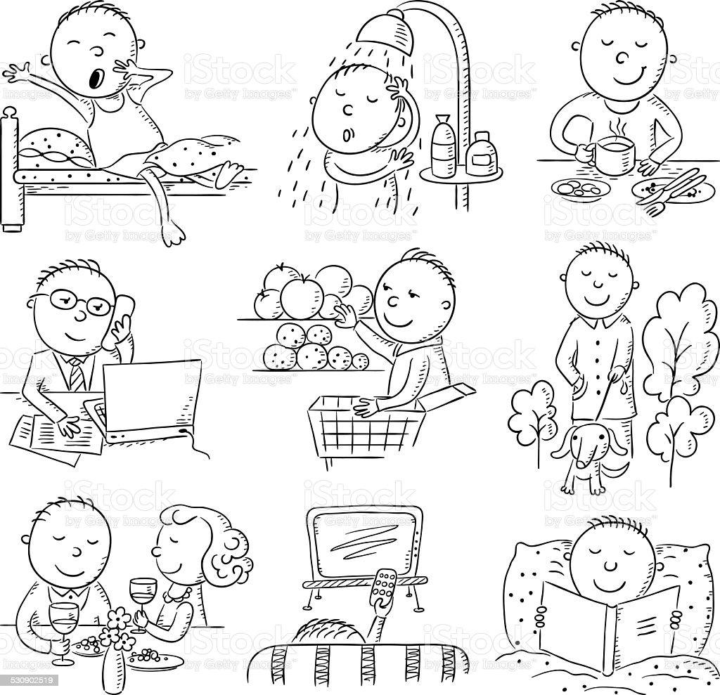 Cartoon Man Daily Activities Stock Vector Art & More