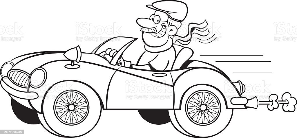 Cartoon Man Driving A Sports Car stock vector art