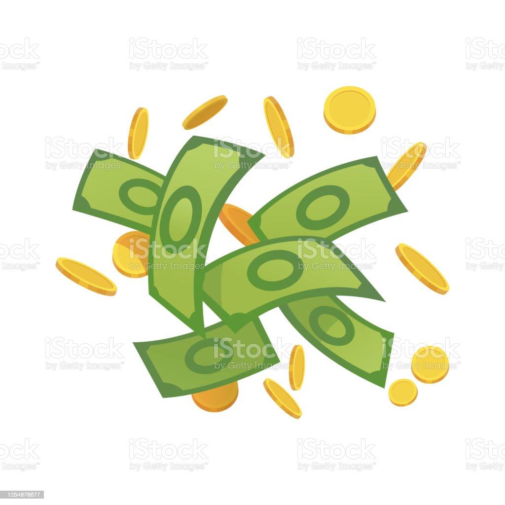 卡通錢綠色紙幣和金幣卡通向量圖解飛來飛去滾鈔票很多硬幣美元雨向量圖形及更多付錢圖片 - iStock