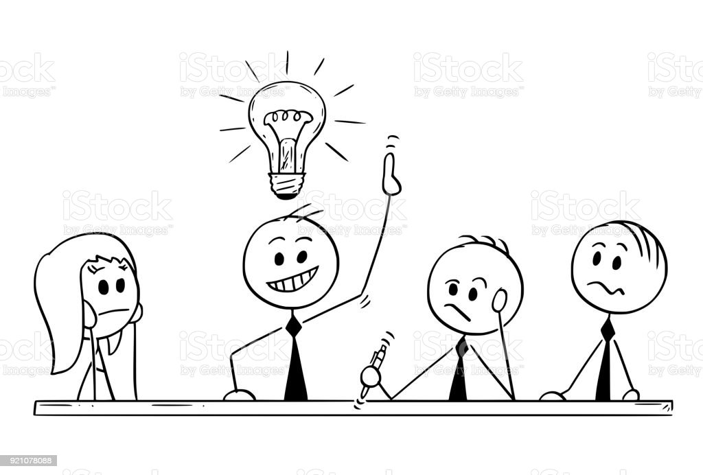 Cartoon Of Business Team Meeting And Brainstorming Stock