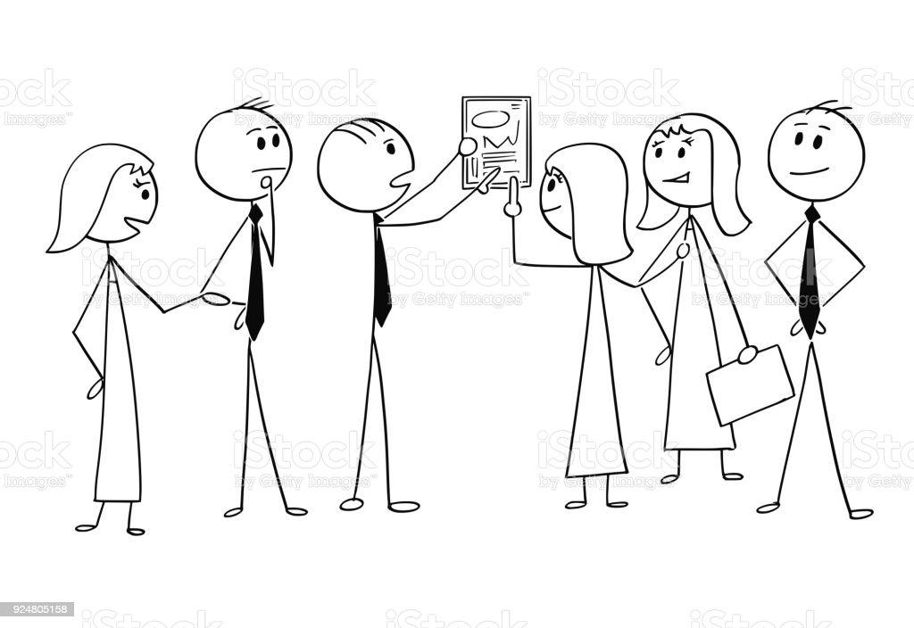Caricature Daffaires équipe Travaillent Ensemble Pour