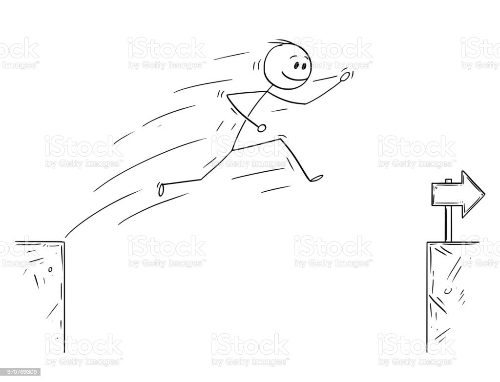 Cartoon Of Businessman Jumping Over The Chasm Overcoming