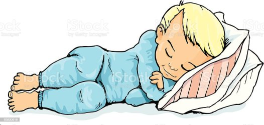 sleeping cartoon boy cute blonde bed boys bedtime illustration blond hair furniture vector pillow