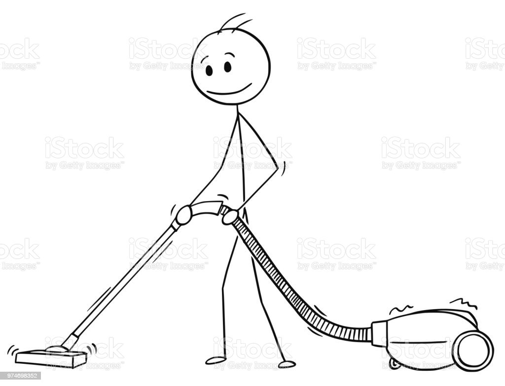 Cartoon Of Man Cleaning Floor Or Carpet With Vacuum