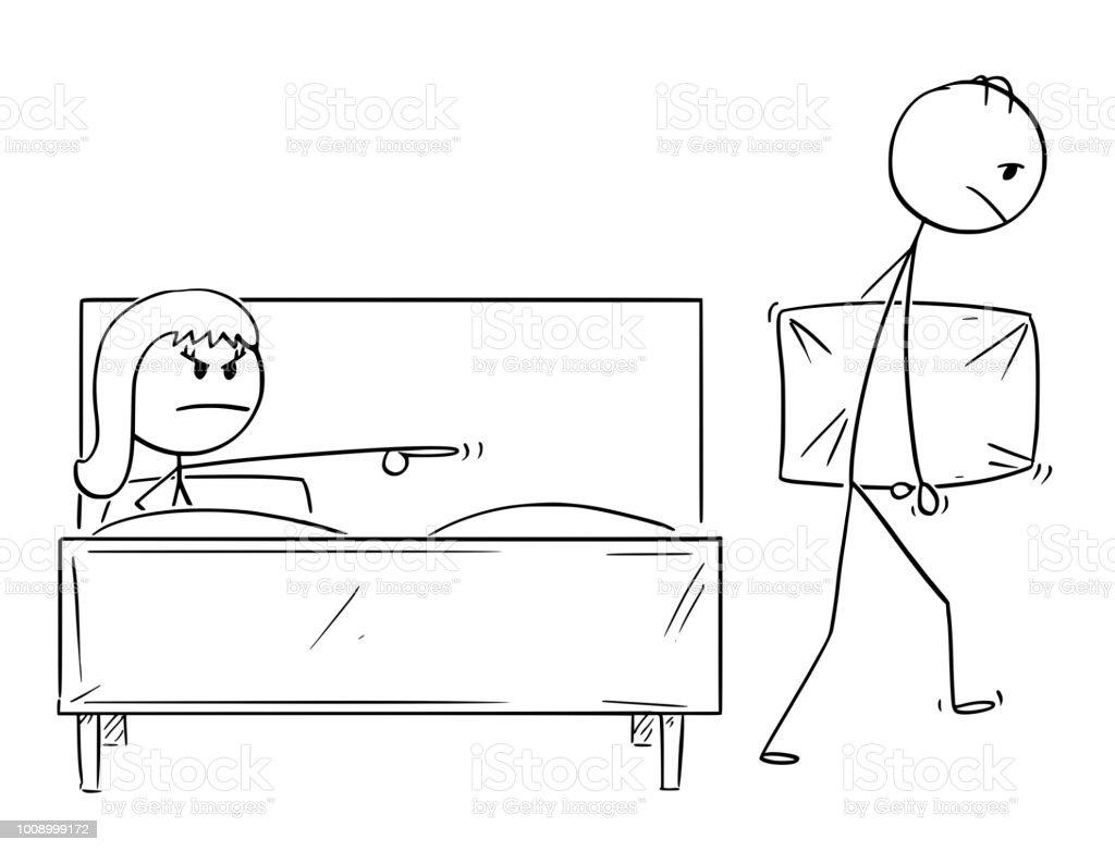 Vetores de Desenho Animado Do Homem Expelido Da Cama Por