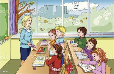 Classroom Teacher And Student Cartoon Images
