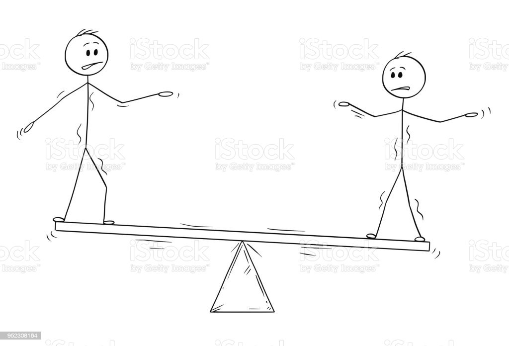 Cartoon Of Two Businessmen Standing On Seesaw And Trying