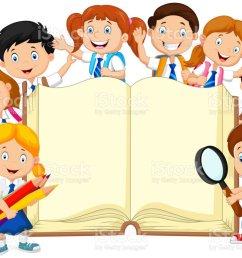 cartoon school children with book isolated vector art illustration [ 1024 x 783 Pixel ]