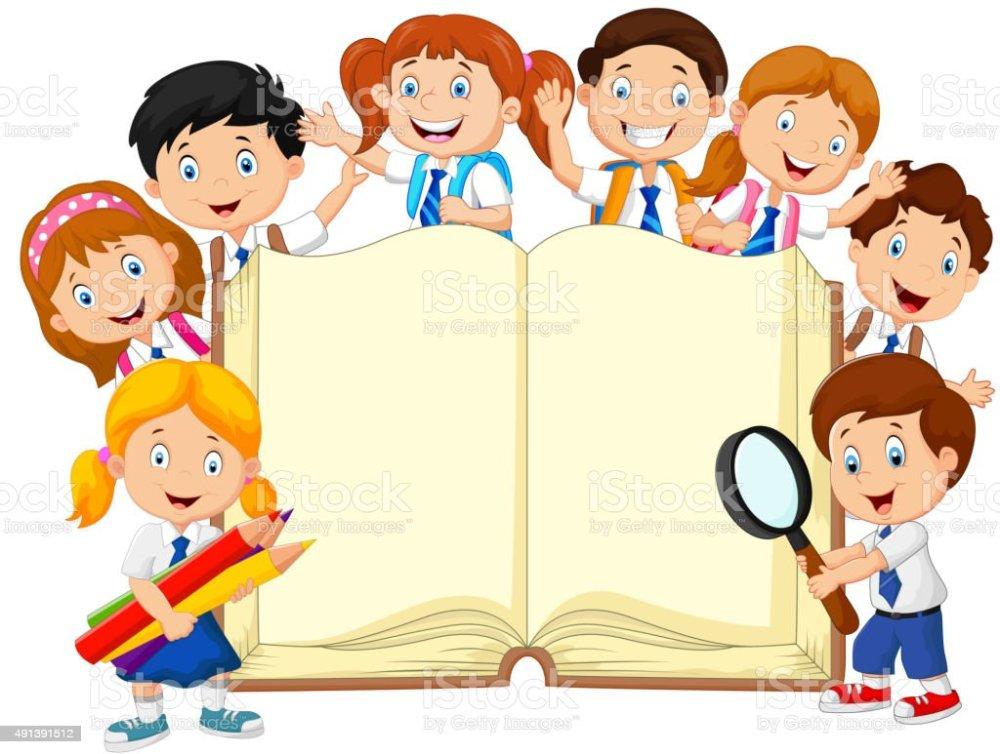 medium resolution of cartoon school children with book isolated vector art illustration