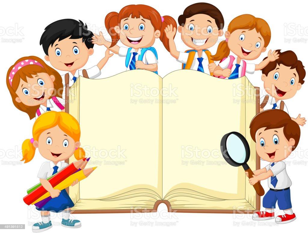 hight resolution of cartoon school children with book isolated vector art illustration