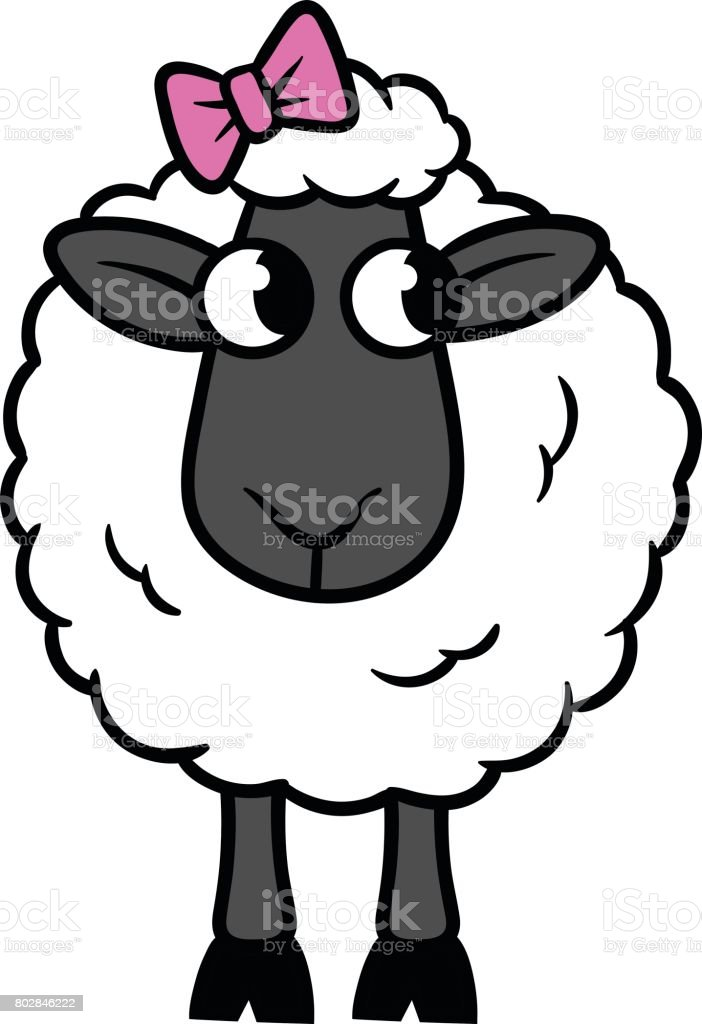 Sheep Clipart Black And White : sheep, clipart, black, white, Cartoon, Sheep, Vector, Illustration, Stock, Download, Image, IStock
