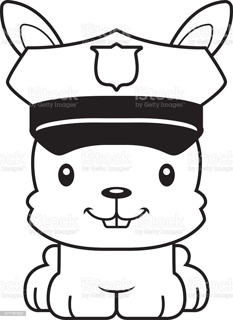 Cartoon Smiling Police Officer Bunny Stock Vector Art