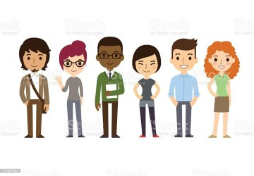 cartoon students college university diverse student clipart vector personas persona staff buyer clip diversity advertising isolated background styles illustration adult