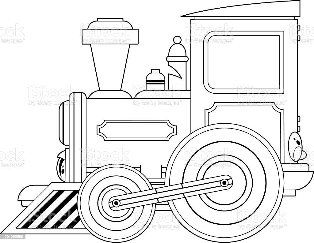 Cartoon Train двигатель Контур — стоковая векторная