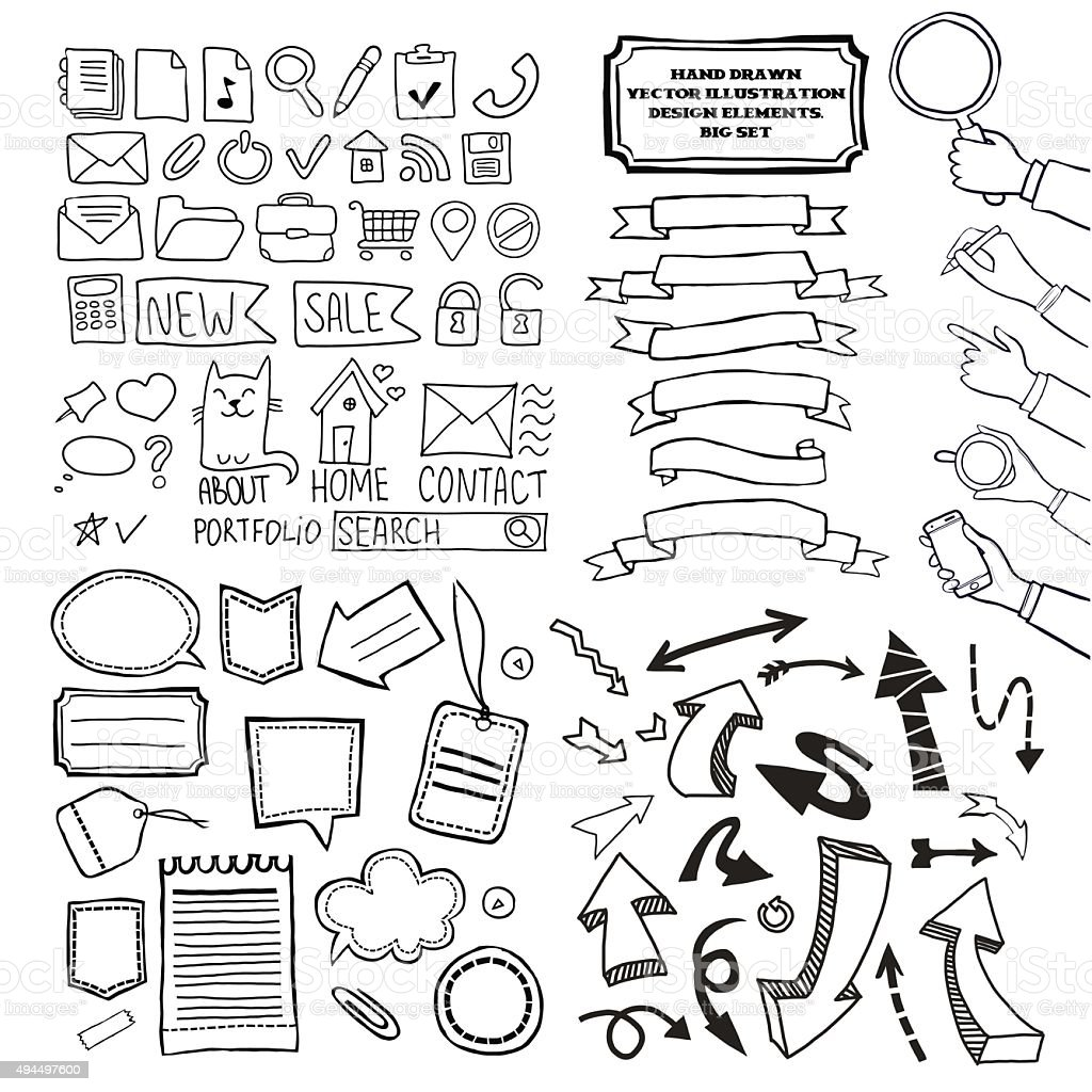 Cartoon Vector Doodle Design Elements Set stock vector art