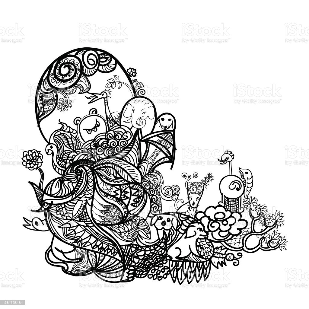 Cartoon Vector Doodle Hand Draw Of Abstract And