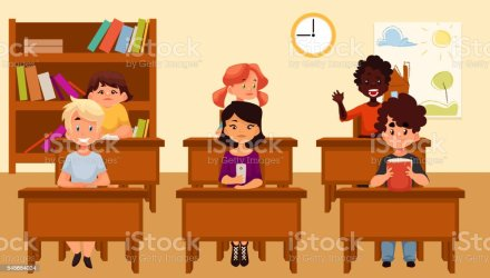 Cartoon Vector Illustration Of School Kids Studying In Classroom Stock Illustration Download Image Now iStock