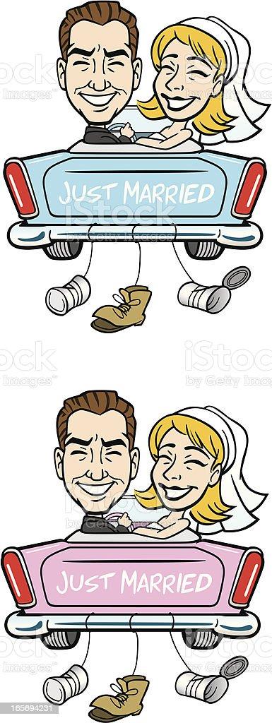 Comic Hochzeit Just Married Im Auto Vektor Illustration 165694231  iStock
