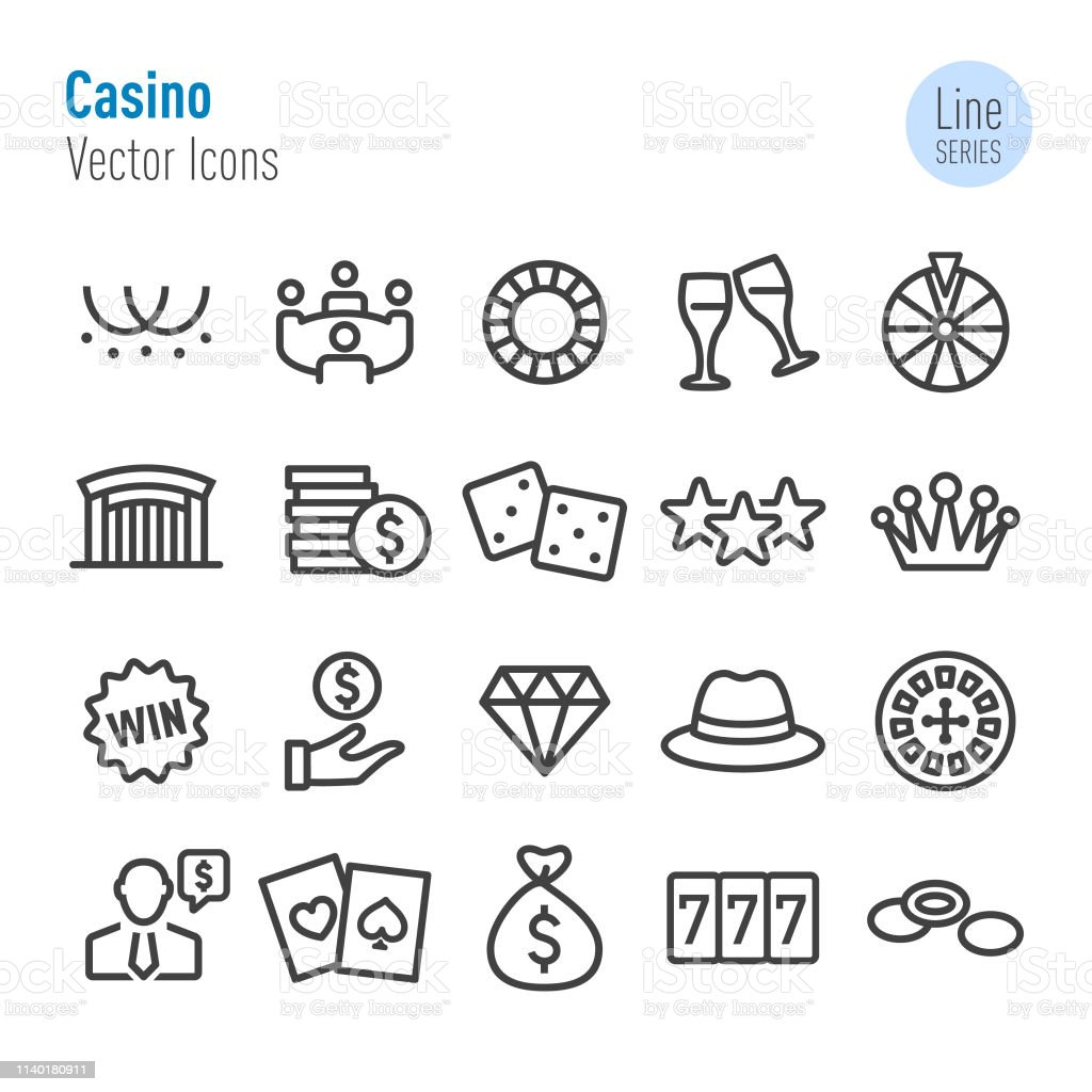 Casino Icons Vector Line Series Stock Illustration