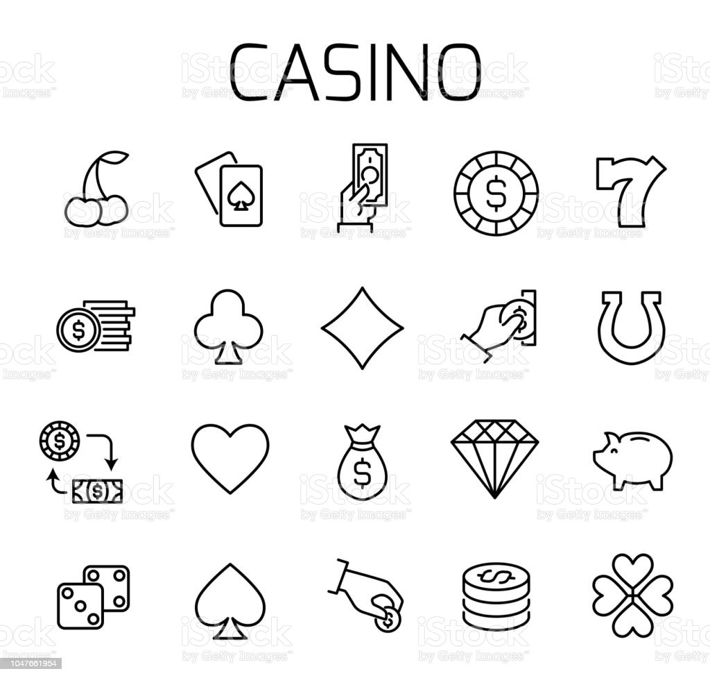 Casino Related Vector Icon Set Stock Illustration