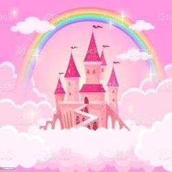 castle princess palace pink royal cartoon clouds fairytale fantasy magic illustration vector flying medieval clip sky fairy heaven cloud tale