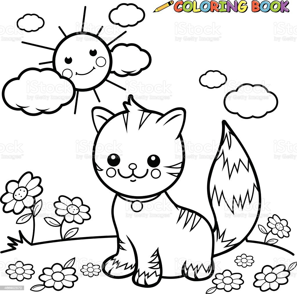 Cat Sitting On Grass Coloring Book Page Stock Vector Art