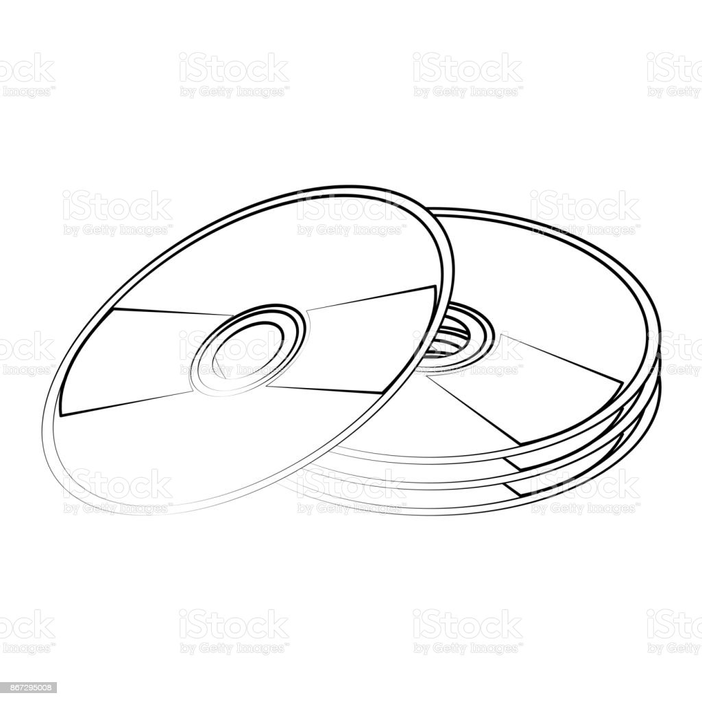 hight resolution of cd compact disk icon image illustration