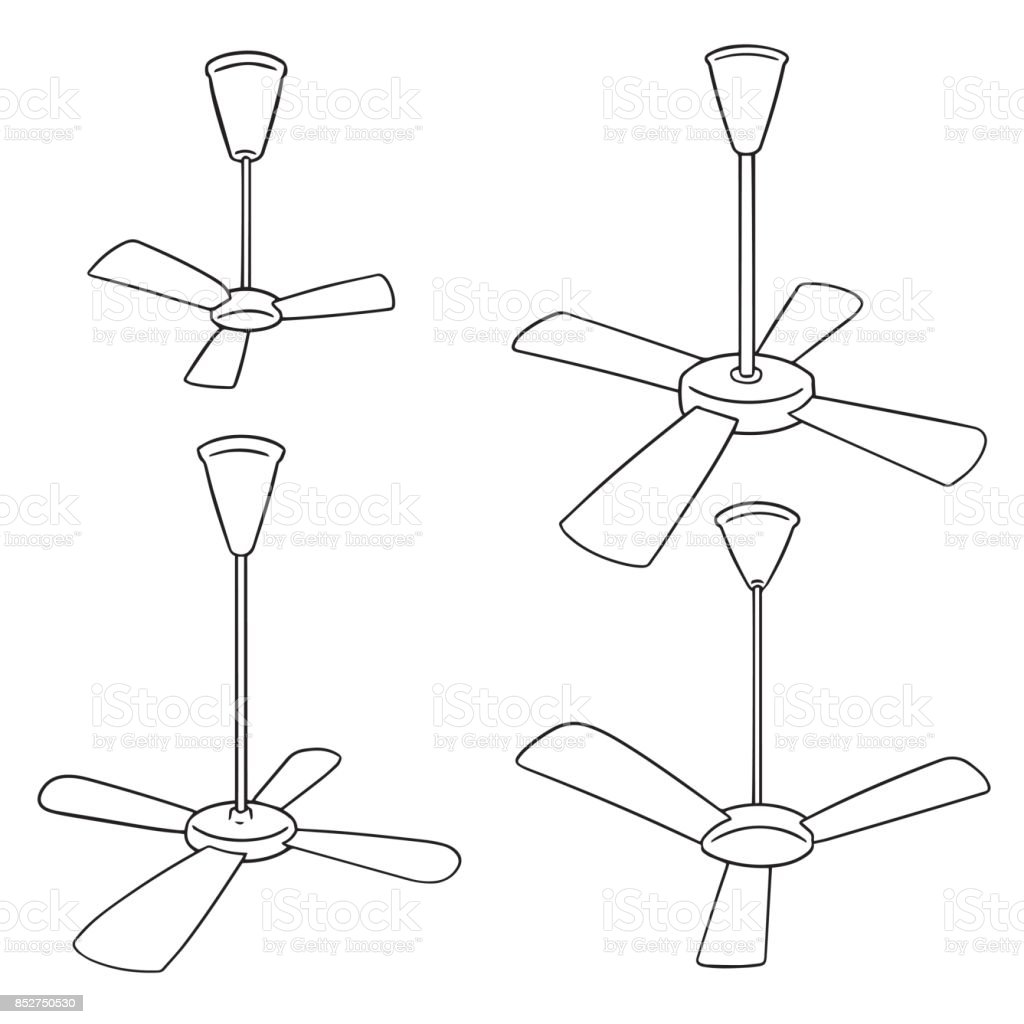 Ceiling Fan Stock Vector Art & More Images of Appliance