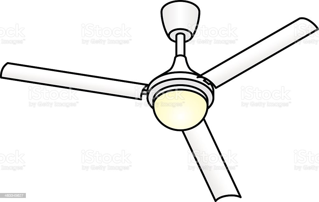 Ceiling Fan With Light Stock Vector Art & More Images of
