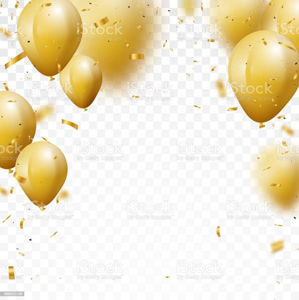 gold balloons illustrations