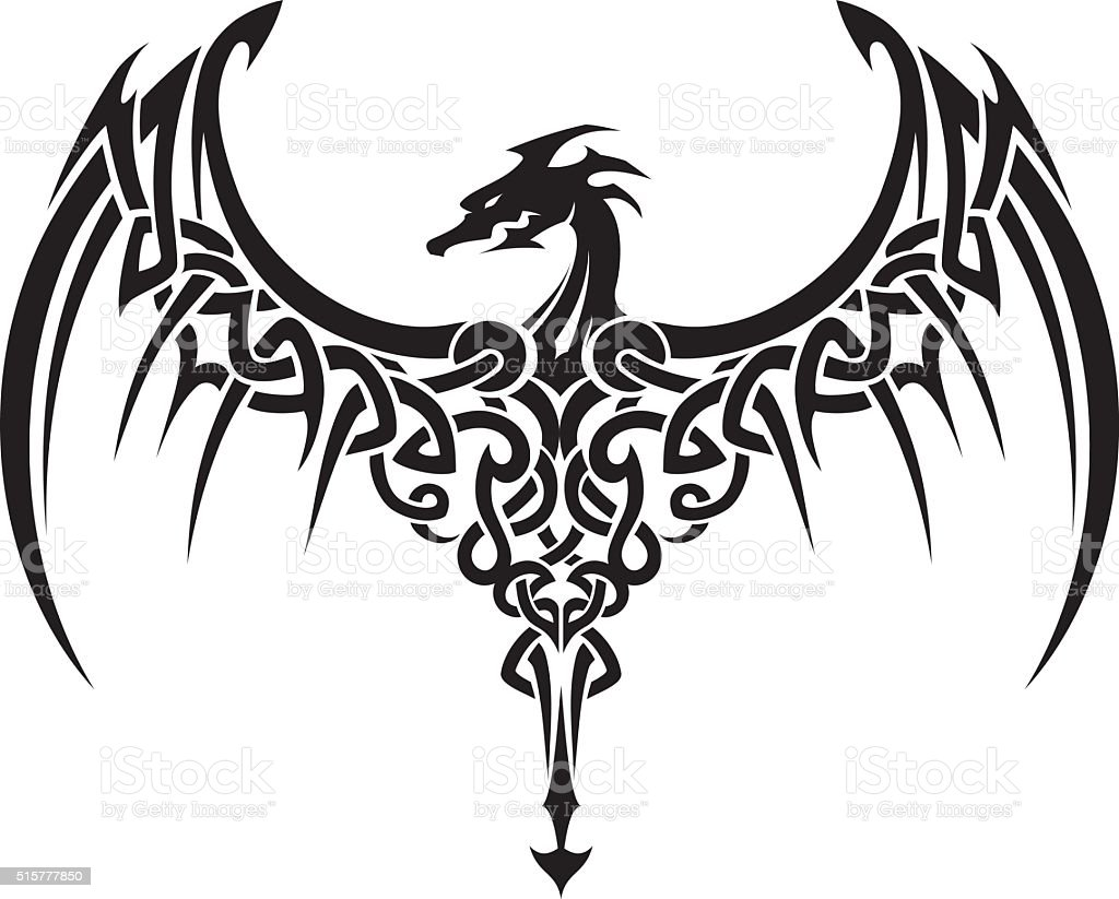 Celtic Dragon Wings Tattoo Stock Vector Art & More Images