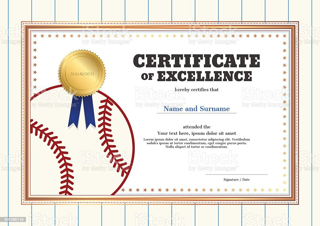 Certificate Of Excellence Template In Sport Theme For Baseball Stock Vector Art Amp More Images Of
