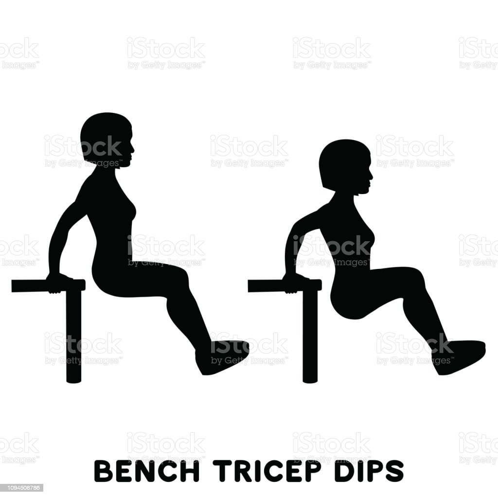 Chair Bench Triceps Dips Sport Exersice Silhouettes Of