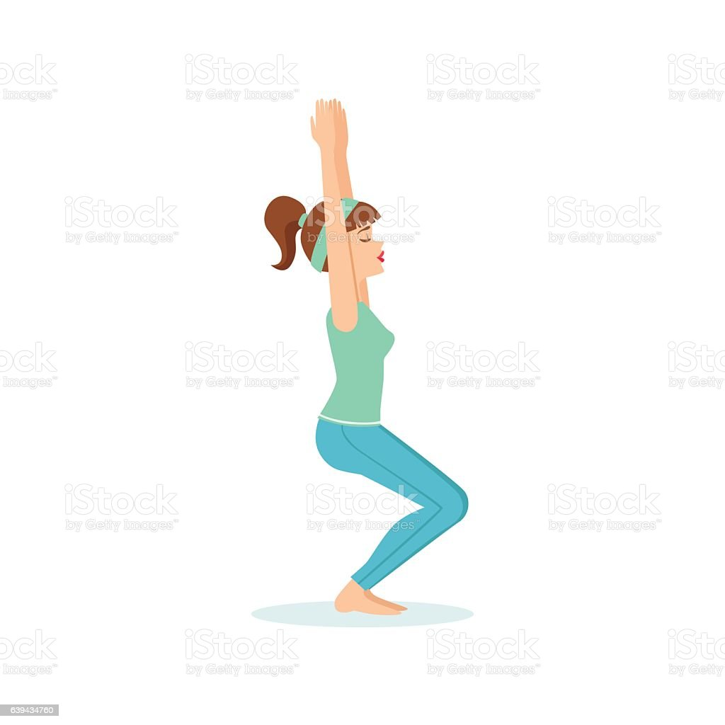 yoga chair pose knoll chadwick instructions royalty free clip art vector images illustrations utkatasana demonstrated by the girl illustration