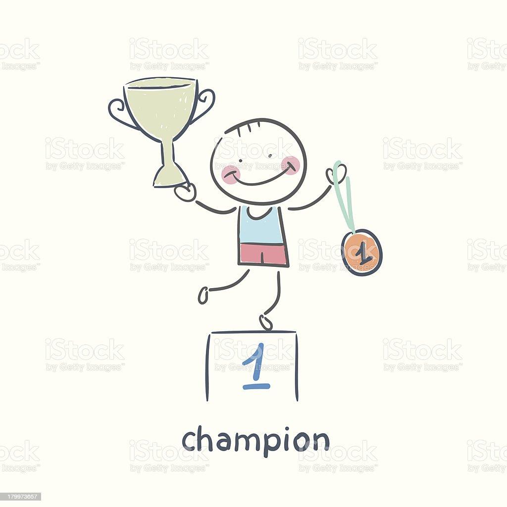 champion cartoon stock illustration