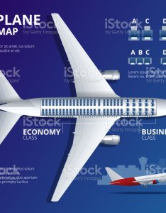 Chart airplane seat plan of aircraft passenger seats top view business and economy classes indoor information map also rh istockphoto