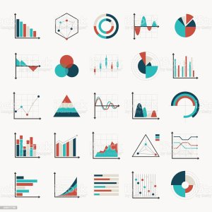 Charts Diagrams And Graphs Flat Icons Stock Vector Art